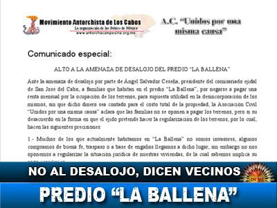 Vecinos del Predio de La Ballena, dicen No al desalojo