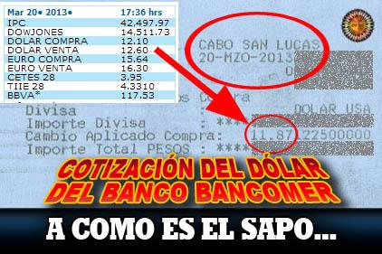 Cotización del Dólar en Bancomer