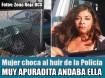 Mujer choca al huir de la Policía