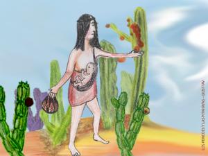 Dibujo: Los Pericúes y las Pitahayas - Giusttav