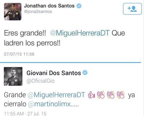 Mensajes en Twitter del apoyo de los hermanos Dos Santos, jugadores de la Selección Mexicana
