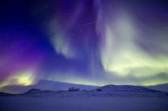 Aurora vista desde la Estación Zhongshan Antártica china, la Antártida