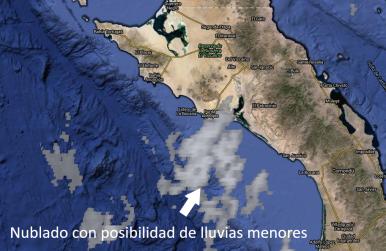 Probabilidad de nublados con potencial de lluvias menores en el norte de BCS