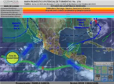 Figura 1. Imagen de satélite GOES-Este con sistemas principales (canal Infrarrojo)