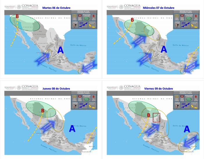 Áreas en vigilancia por desarrollo de tormentas significativas en las siguientes 24, 48, 72 y 96 horas