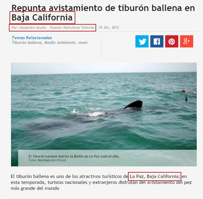 En esta noticia, Noticieros Televisa confunde a Baja California con Baja California Sur