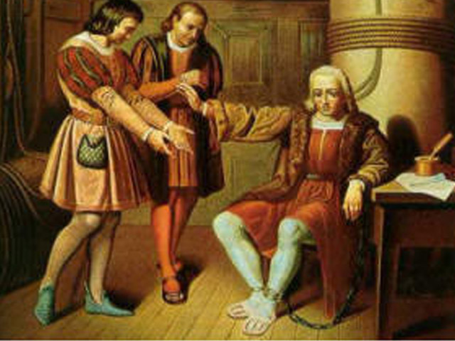 En el cuadro se ve a Cristóbal Colón, esposado como un delincuente.